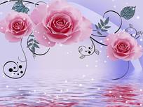 浪漫玫瑰花倒影电视背景墙