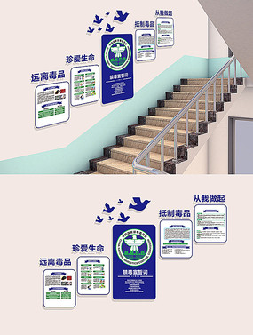 校园禁毒楼梯文化墙