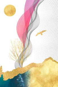 新中式飞鸟装饰画抽象无框画