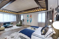 新中式主题卧室设计 JPG