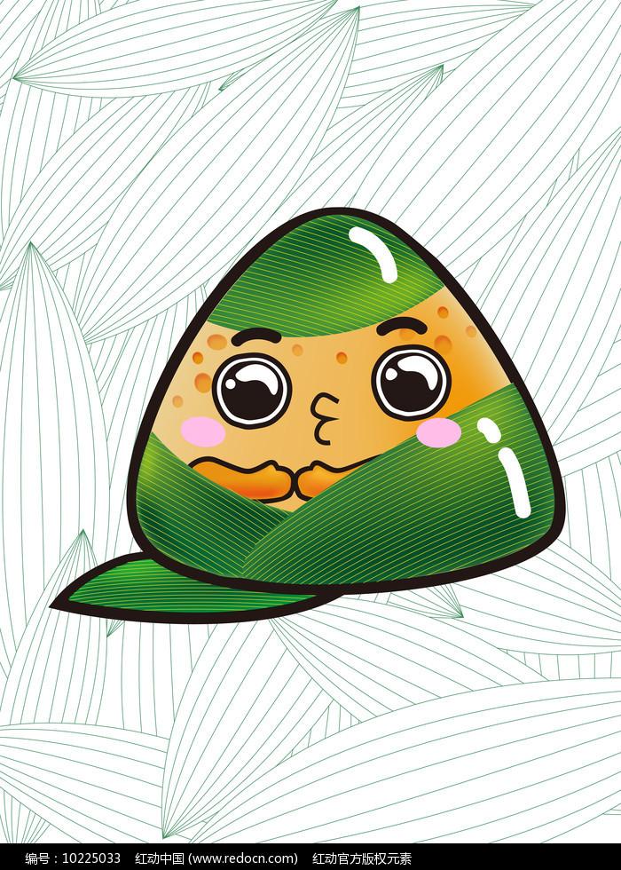 原创元素端午节绿色亲亲粽子图片