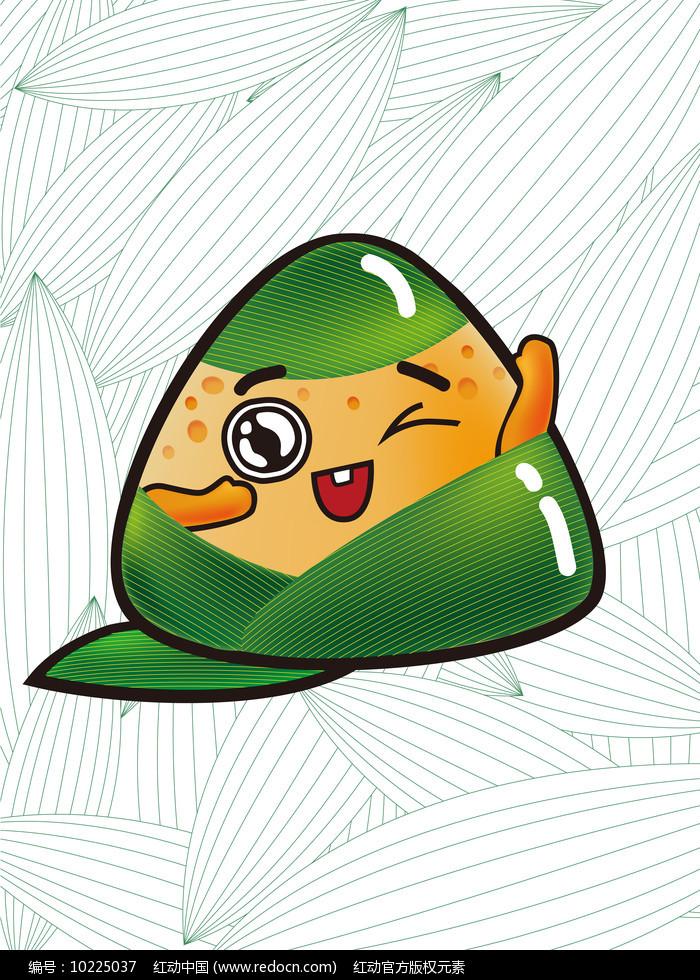 原创元素端午节绿色眨眼粽子图片