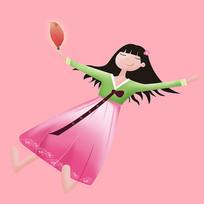 原创元素-女孩插画