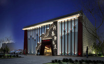 鱼头餐厅入口建筑3D模型