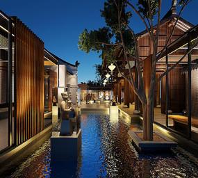 中式餐厅室外水景3D