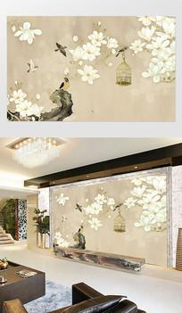 中式古典工笔花鸟花背景墙