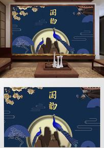 中式国潮元素孔雀祥云背景墙