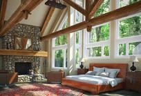 自然元素木头室内卧室3D