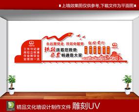 红色铁路文化墙展板