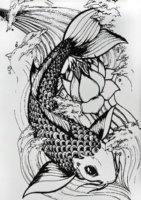 手绘鱼跃龙门黑白无框画