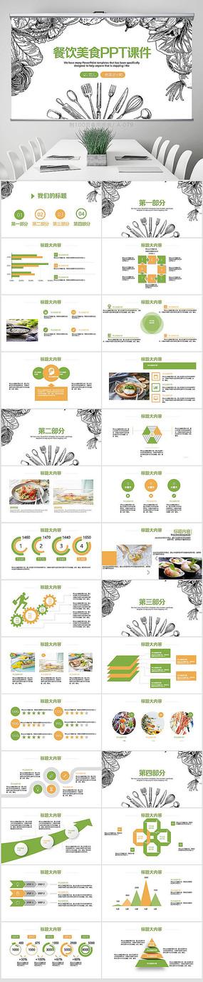 创意手绘餐饮美食PPT模板