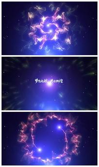 粒子旋转交汇logo片头视频模板