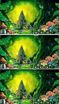 梦幻森林背景绿野仙踪小房子