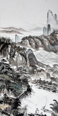 手绘水墨山水复古风景油画玄关