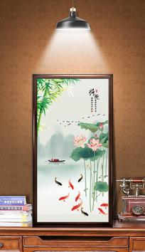 中国风荷花玄关画