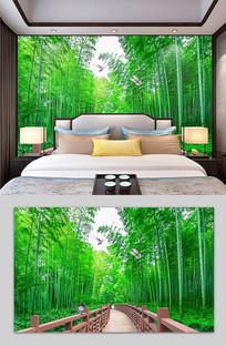 3D风景画清新竹林电视背景墙
