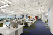 白色简约办公空间3D模型