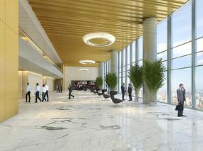 办公大楼大堂室内设计效果图