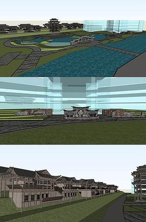古镇建筑su模型