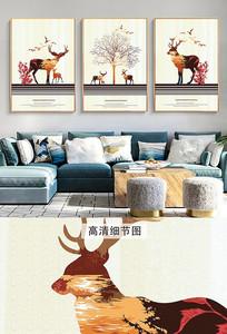 简欧现代抽象麋鹿三联装饰画