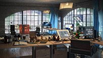 漫画公司办公空间3D模型