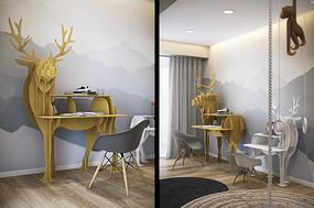 卧室驯鹿状书桌