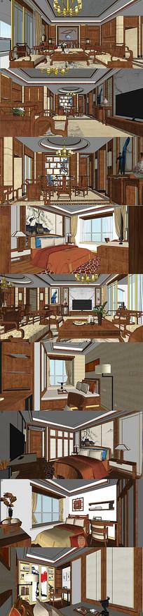 新中式风格家装su模型