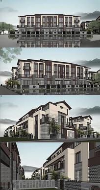 新中式联排别墅建筑模型