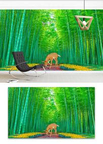 3D鹿风景画竹林路电视背景墙