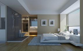 白色简约现代卧室3D模型