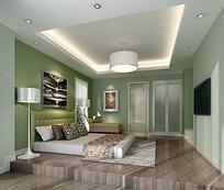 淡绿色背景墙室内卧室3D