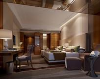仿酒店标间现代室内3D模型