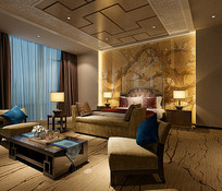 古典背景墙室内卧室3D