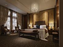古典碎花元素室内卧室3D