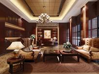 古典现代室内客厅3D