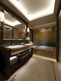 经典现代室内卫生间3D模型