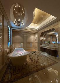 金色元素奢华室内洗手间3D