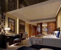 酒店标准间中式元素3D