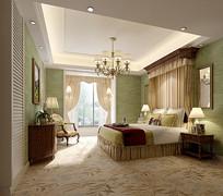 绿色背景墙公主家装卧室3D