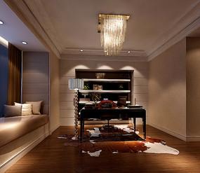 木地板现代室内书房3D