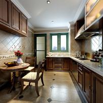 木头元素橱柜室内厨房3D