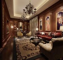 欧式古典室内客厅书房3D