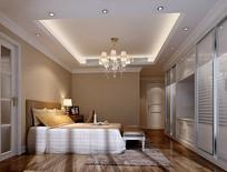 欧式简约白色室内卧室3D