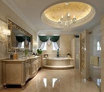 欧式轻奢室内洗手间3D模型
