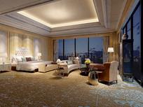 全玻璃窗元素欧式卧室3D模型