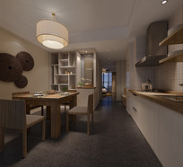 日式简约家装餐厅厨房3D