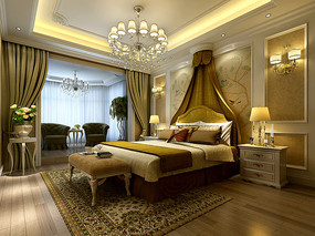 奢华中式室内卧室3D模型