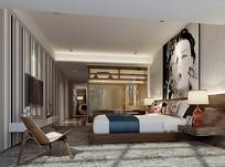 现代创意室内卧室3D模型