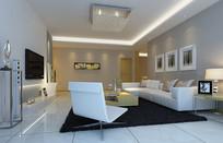 现代简约白色沙发室内客厅3D