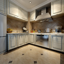 现代简约室内厨房3D